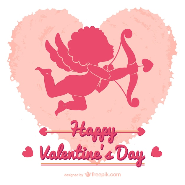 Valentines card with cupid Vector – Free Download Valentine Card