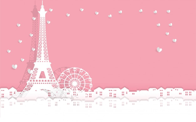 Valentine's card with eiffel tower with heart paper cut. all in paper cut style vector ill Premium Vector