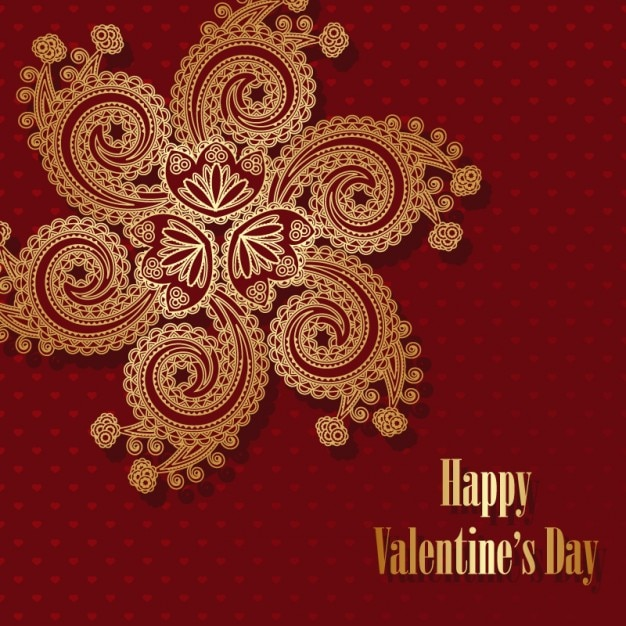 Valentine´s card with golden ornament\ vector