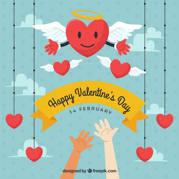 Valentine's card with hands and hearts hanging Free Vector
