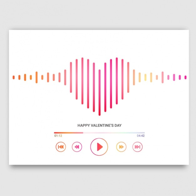 Valentine's card with heart-shaped music player Premium Vector