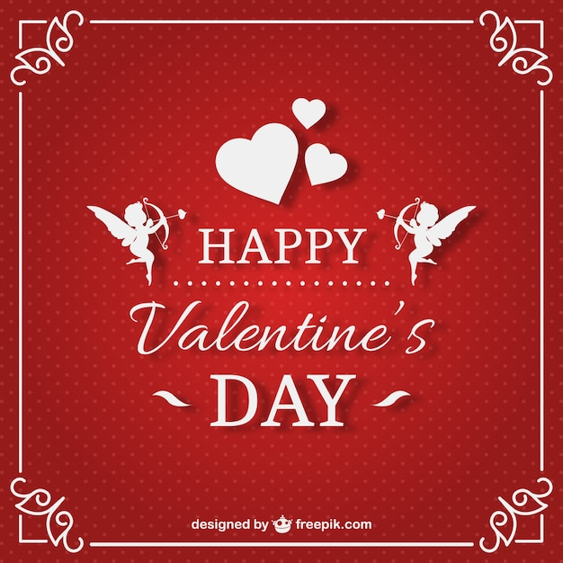 Valentine\'s card with red background