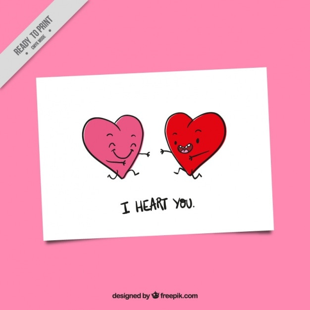 Valentines card with smiling hearts Vector – Valentine Card Download