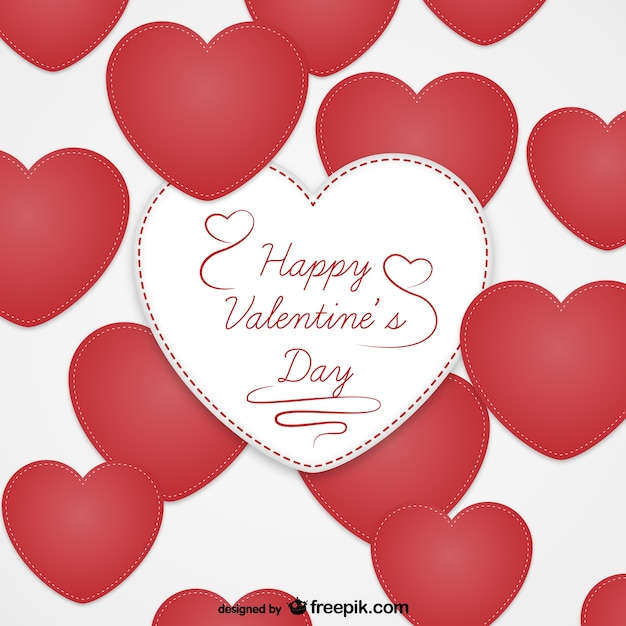 Valentine\'s card with textile hearts