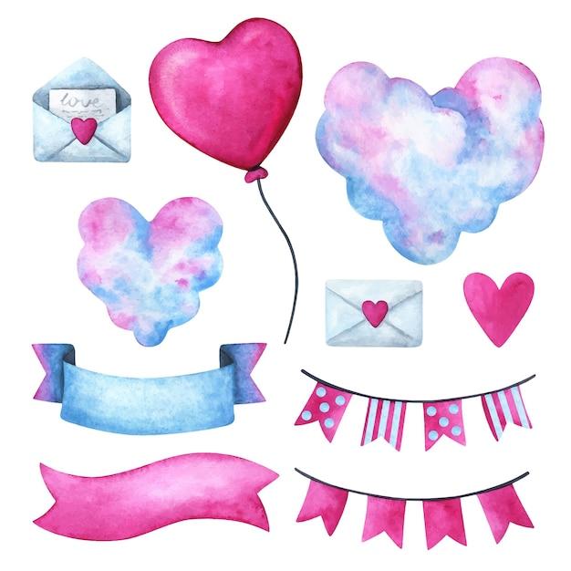 День святого валентина, клипарт для признания в любви. сердце, облака, письмо, лента, гирлянда Premium векторы