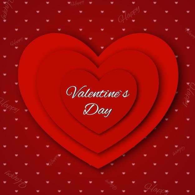 バレンタイン・デー。カット紙のハートと抽象的な背景。 Premiumベクター