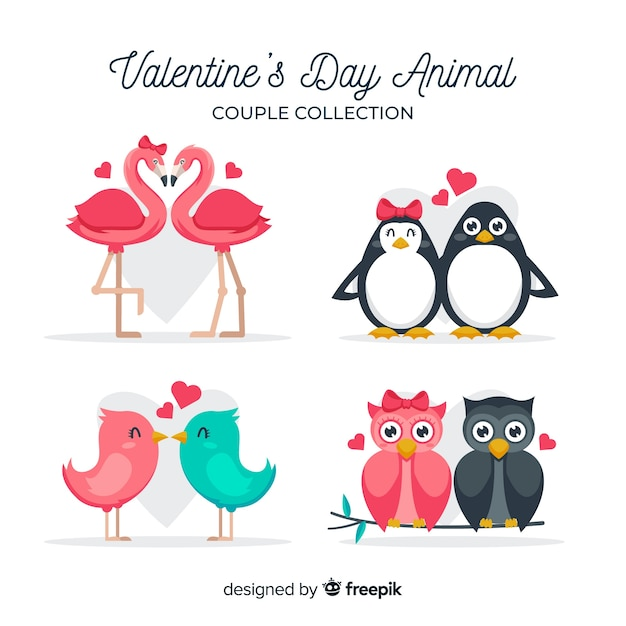 Valentine's day animal couple collection Free Vector
