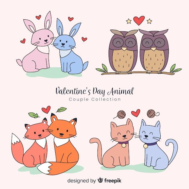 Collezione di coppie animali di san valentino Vettore gratuito