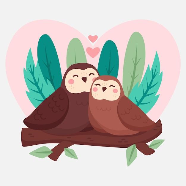 День святого валентина пара животных в плоском дизайне Бесплатные векторы