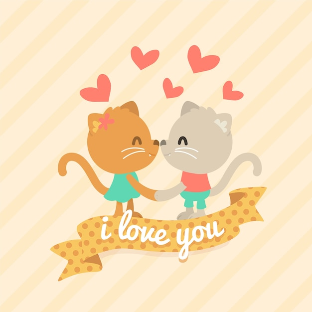 Valentine's day animal couple with cats Free Vector
