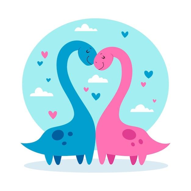 Coppia di animali di san valentino con i dinosauri Vettore gratuito