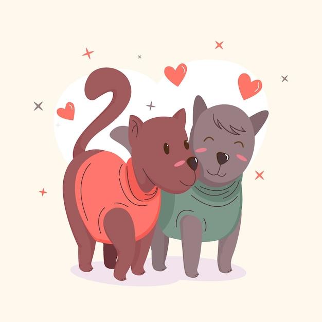 犬とバレンタインデーの動物のカップル 無料ベクター