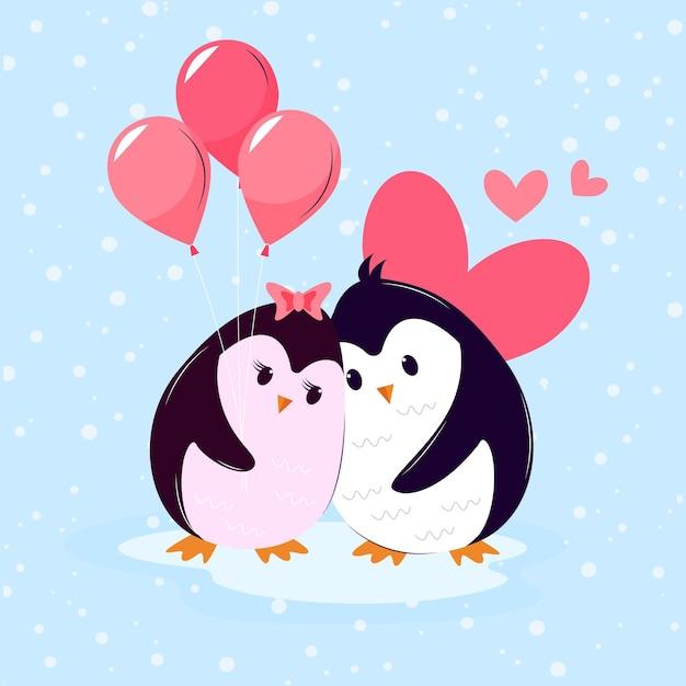 펭귄과 발렌타인 동물 커플 무료 벡터