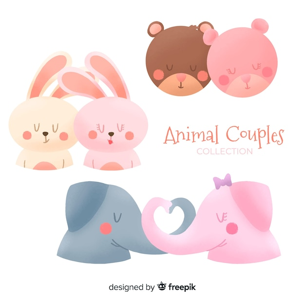 Valentine's day animal couples collection Free Vector