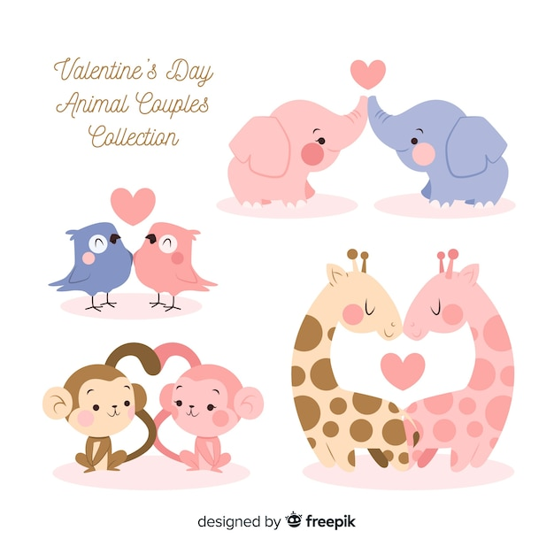 Valentine's day animals couple pack Free Vector