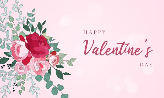 Valentine's day background design with beautiful floral Free Vector