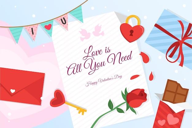 Valentine's day background in flat design Free Vector