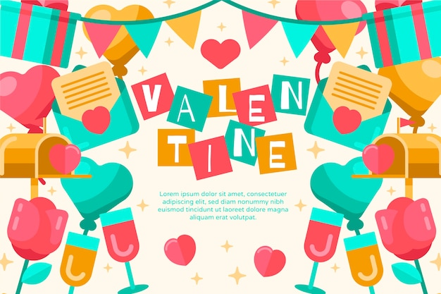 Valentine's day background in flat design Free Vector