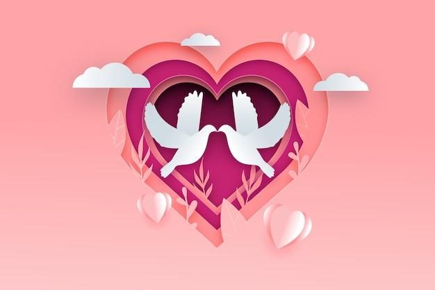 Sfondo di san valentino in stile carta con colombe Vettore gratuito