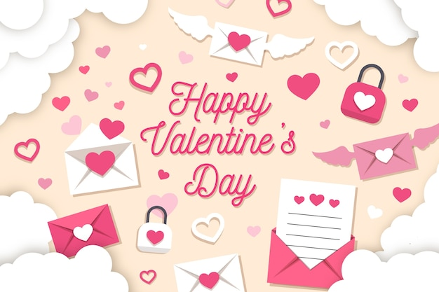 Valentine's day background paper style with envelopes and hearts Free Vector