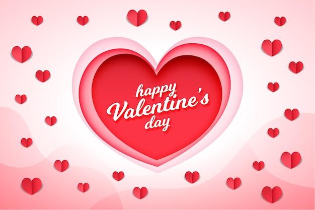 Sfondo di san valentino in stile carta Vettore gratuito