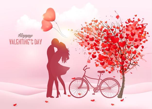 День святого валентина фон с силуэтом целующейся пары, деревом в форме сердца и коробкой. Premium векторы