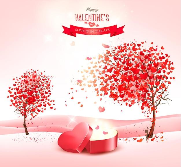 День святого валентина фон с подарочной коробкой в форме сердца. Premium векторы