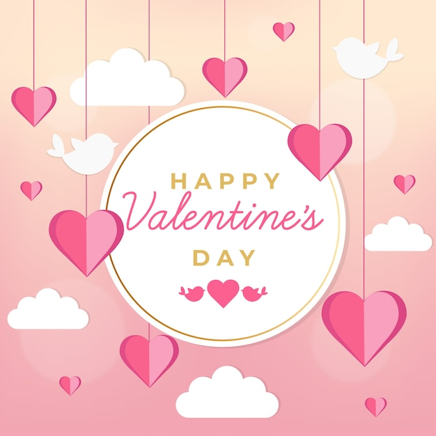 Valentine's day background with birds and clouds Free Vector