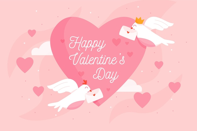 Valentine's day background with birds and envelopes Free Vector