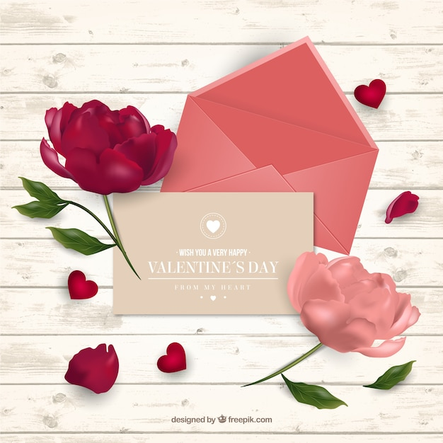 Valentines day background with card and flowers in realistic – Flower Valentine Card