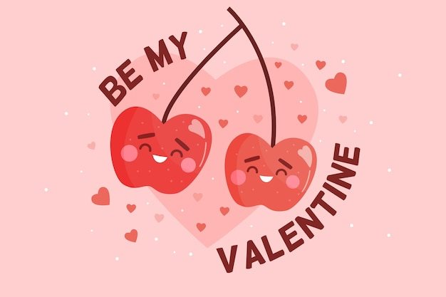 Valentine's day background with cherries Free Vector