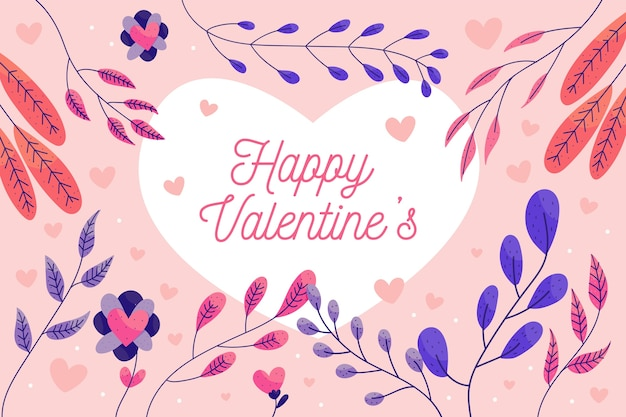 Valentine's day background with colorful leaves Free Vector
