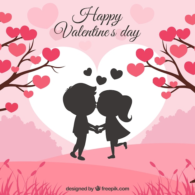 Valentine's day background with couple kissing Free Vector