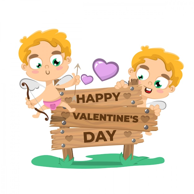Valentine's day background with cupid Premium Vector
