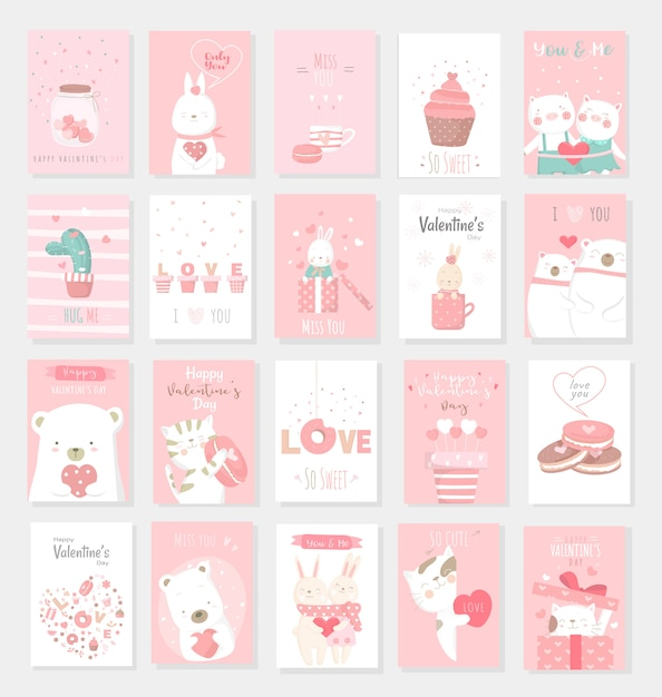 Valentine's day background with cute baby animal cartoon Premium Vector