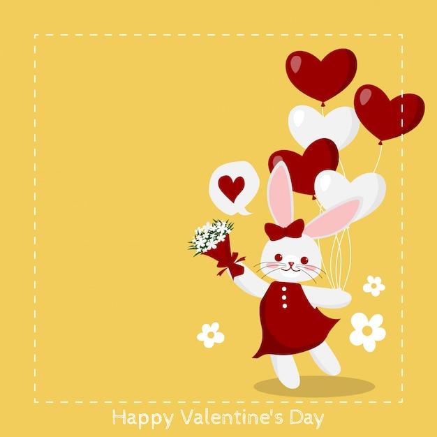Valentine's day background with cute rabbit. Premium Vector