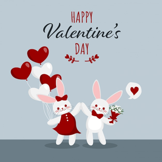 Valentine's day background with cute rabbits couple. Premium Vector