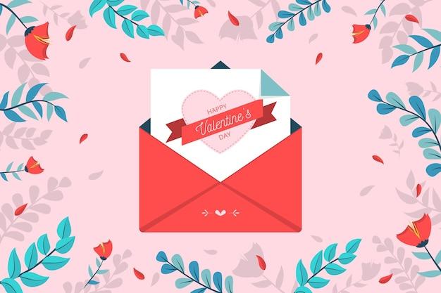 День святого валентина фон с конвертом Premium векторы
