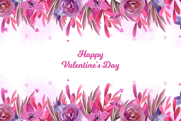 Valentine's day background with flowers Free Vector