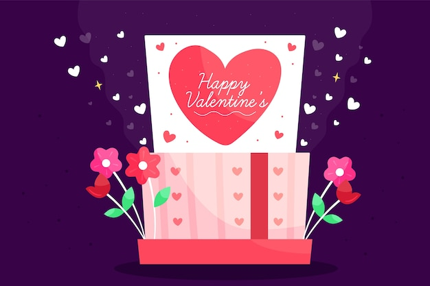 Valentine's day background with gift and flowers Free Vector