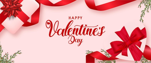 Sfondo di san valentino con regali e modello di nastro realistico Vettore gratuito