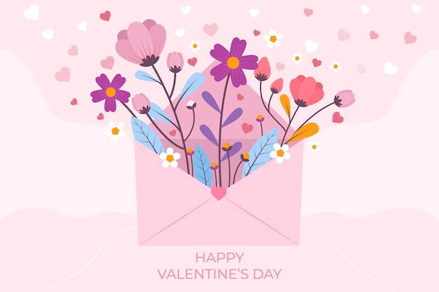 Valentine's day background with greeting Free Vector