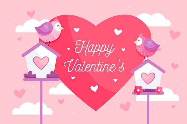 Valentine's day background with heart and birds Free Vector