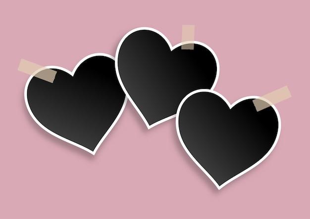 ハート型の空白のフォトフレームデザインとバレンタインデーの背景 無料ベクター
