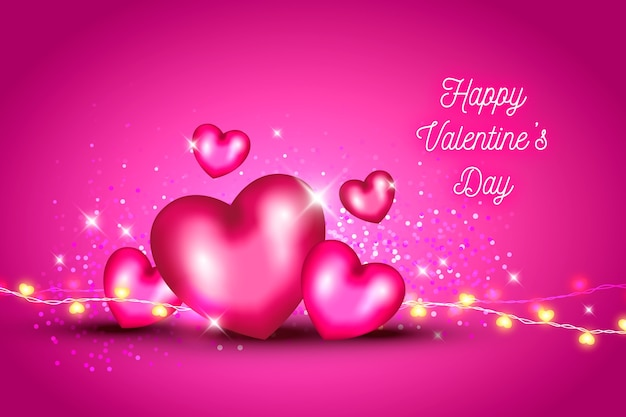 Valentine's day background with hearts and glitter Free Vector