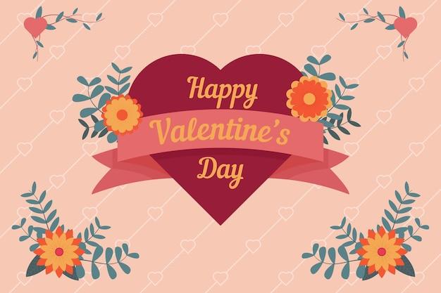 День святого валентина фон с прекрасным сердцем и приветствием Premium векторы