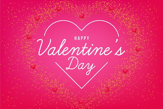 Valentine's day background with neon heart Free Vector