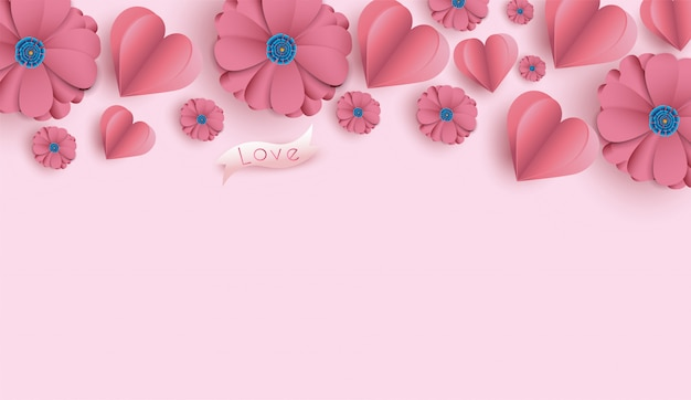Valentine's day background with paper cut flowers and hearts. Premium Vector