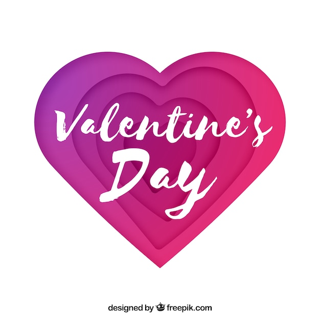 Valentine\'s day background with paper heart Vector | Free Download