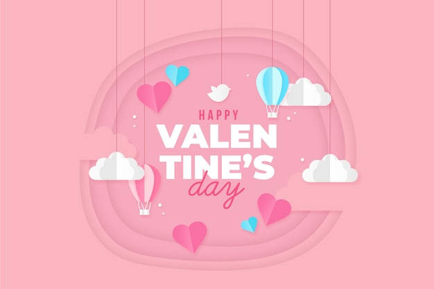 Valentine's day background with paper style clouds and hearts Free Vector